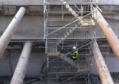 accès suspendu fond de fouille – Chantier Green Corner
